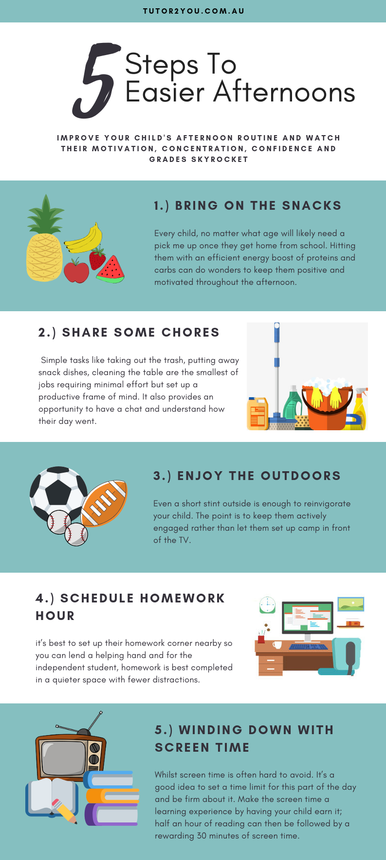 5 steps to easier afternoons - infographic guide | Tutor2you