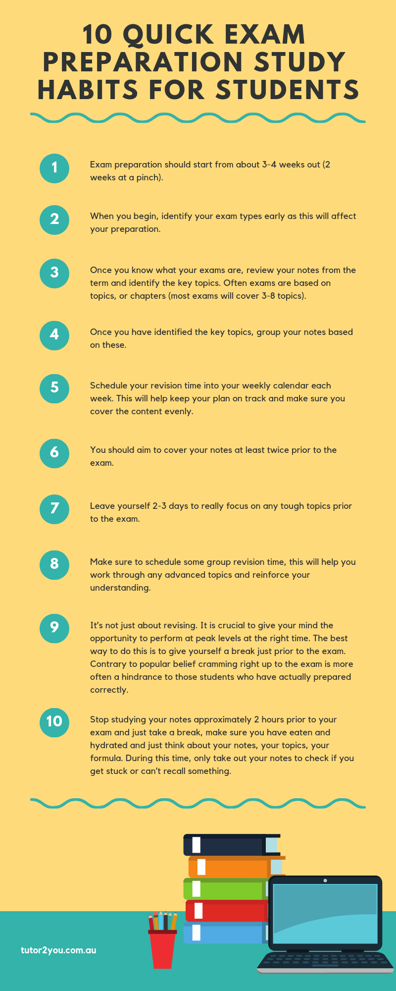 10 exam preparation study tips for students - infographic | Tutor2you
