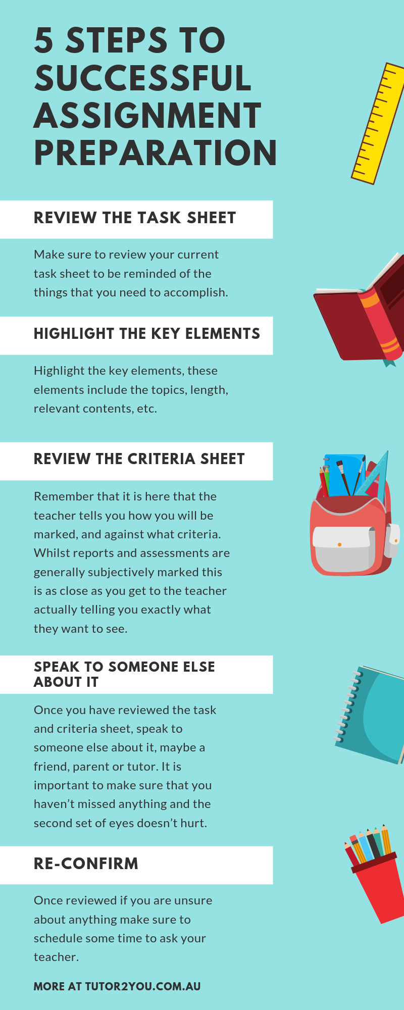 5 steps to successful assignment preparation - educational infographic | tutor2you