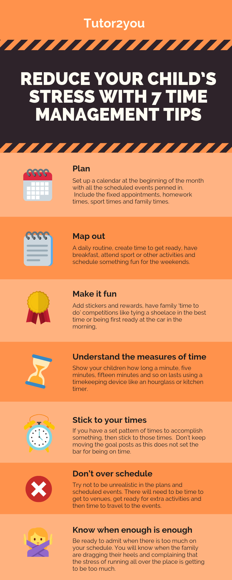 Reduce Your Child's Stress With 7 Time Management Tips - Infographic | Tutor2you