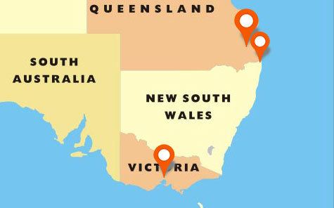 Chemistry In-home tutoring location map of available tutors in Brisbane, Gold Coast and Melbourne | Tutor2you