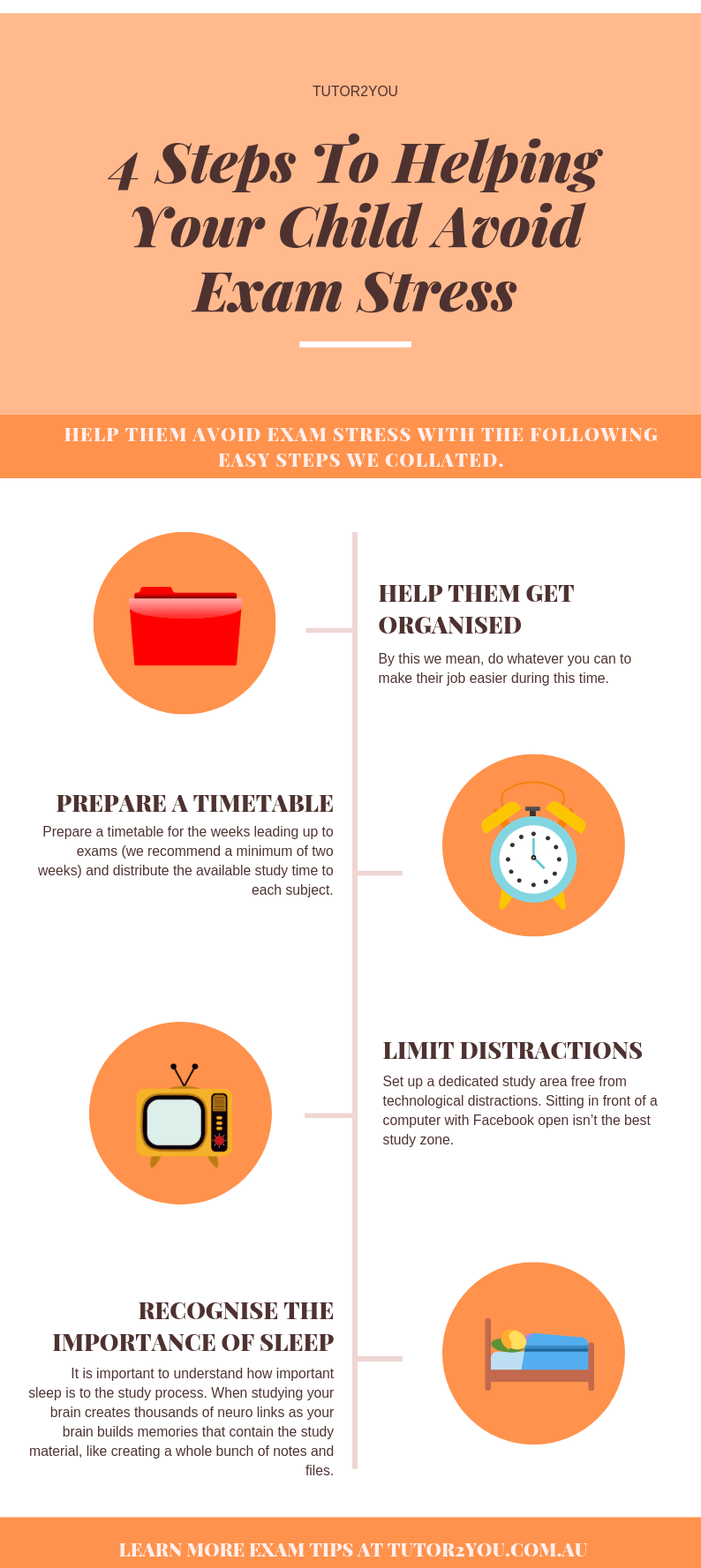 4 Steps To Helping Your Child Avoid Exam Stress - Infographic | Tutor2you