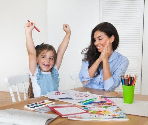 daughter happily achieved goals with mother