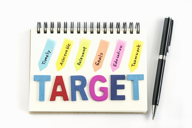 SMART goal setting target written on a notebook