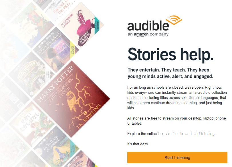 free tools & resources to support remote audible free audiobooks for kids during school closures