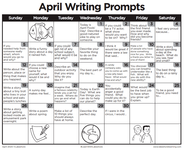free tools & resources to support remote learning lakeshore free monthly calendar writing prompts for april 2020