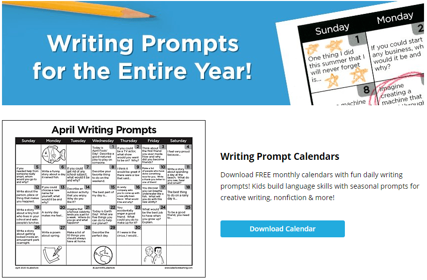 free tools & resources to support remote learning during covid-19 lakeshore free monthly calendar writing prompts