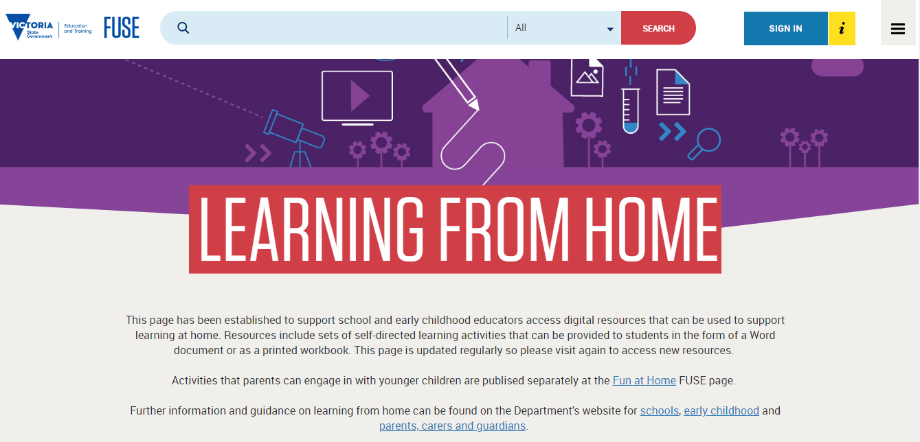 free tools & resources to support remote learning vic education fuse learning from home